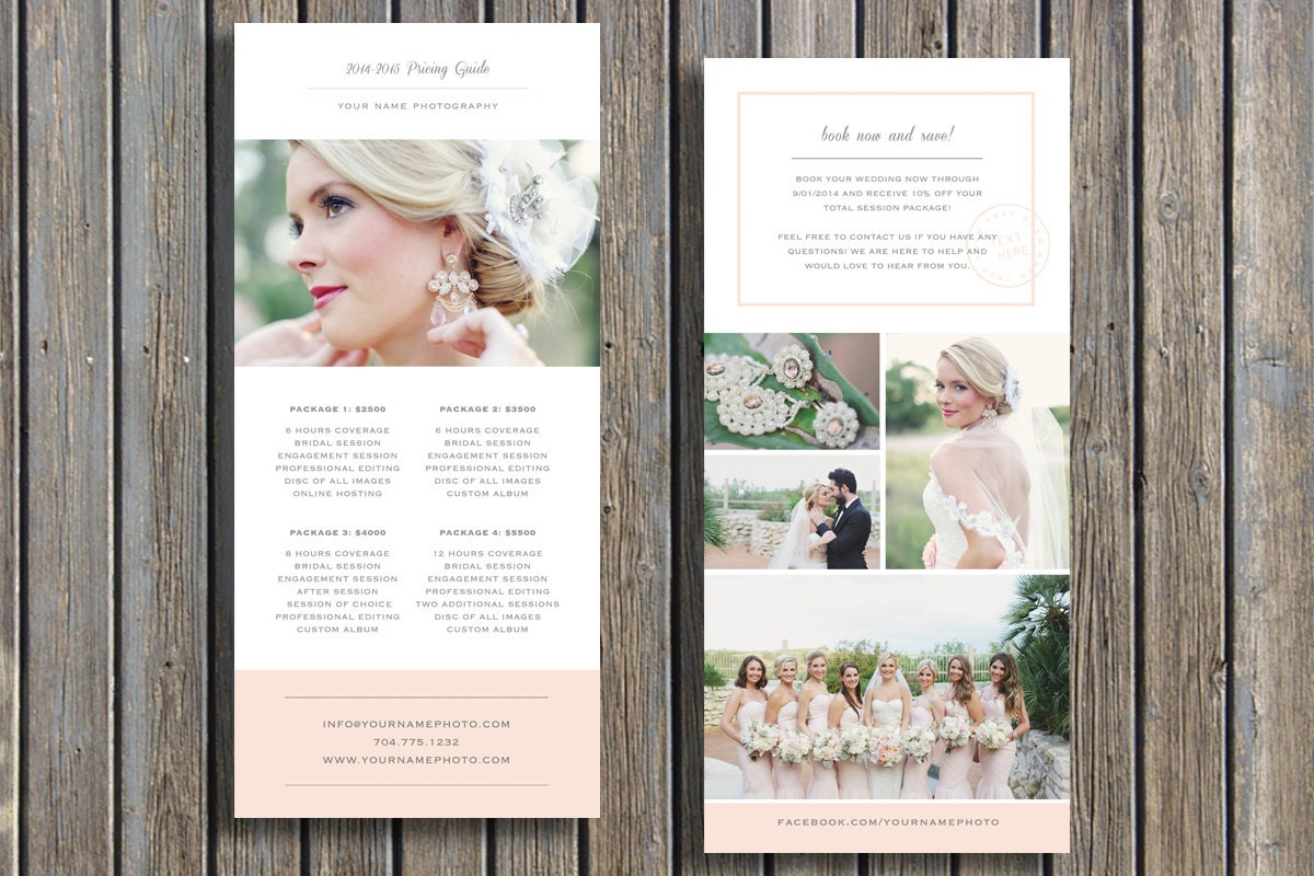 wedding photographer pricing guide template vista print rack
