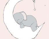 Elephant Nursery Art -- Baby Elephant Moon and Stars Dream -- Pink and Grey -- Nursery Decor -- Kids Wall Art