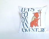 Woodland Nursery Bedding - Let's Go On An Adventure - Fox Nursery Decor Pillowcase - 18 x 18 - Fox Nursery