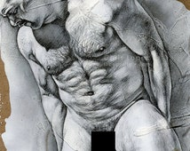 """Original male nude pencil drawing on gesso textured panel, 6x6"""""""