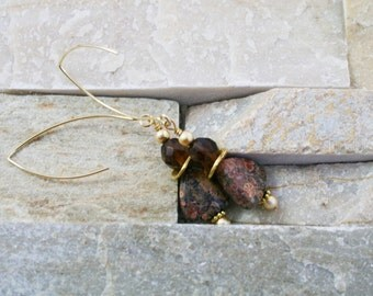 Long gold plated earrings, brown jewelry, agate stone, triangle stone, brown glass bead, natural stone jewelry
