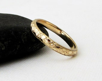 Womens Gold Wedding Band Gold Floral Pattern Ring 14k Gold Wedding Ring Thin Gold Wedding Band Antique Style Wedding Bands Engagement Rings