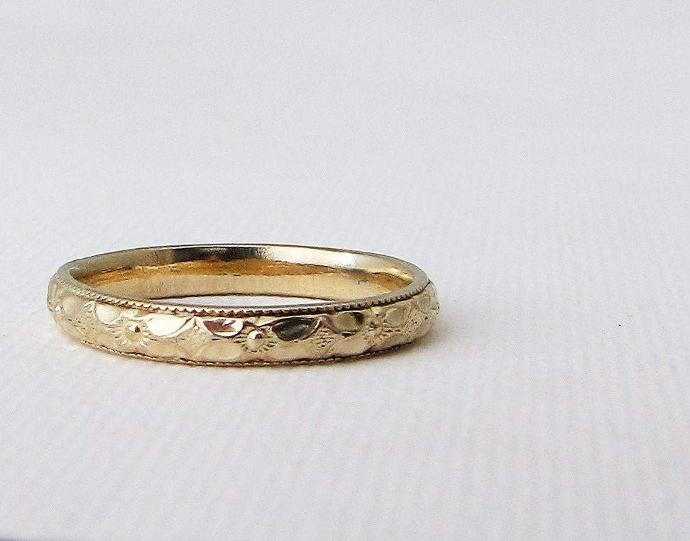 Gold Floral Wedding Band Womens Gold Wedding Ring By SilverSmack