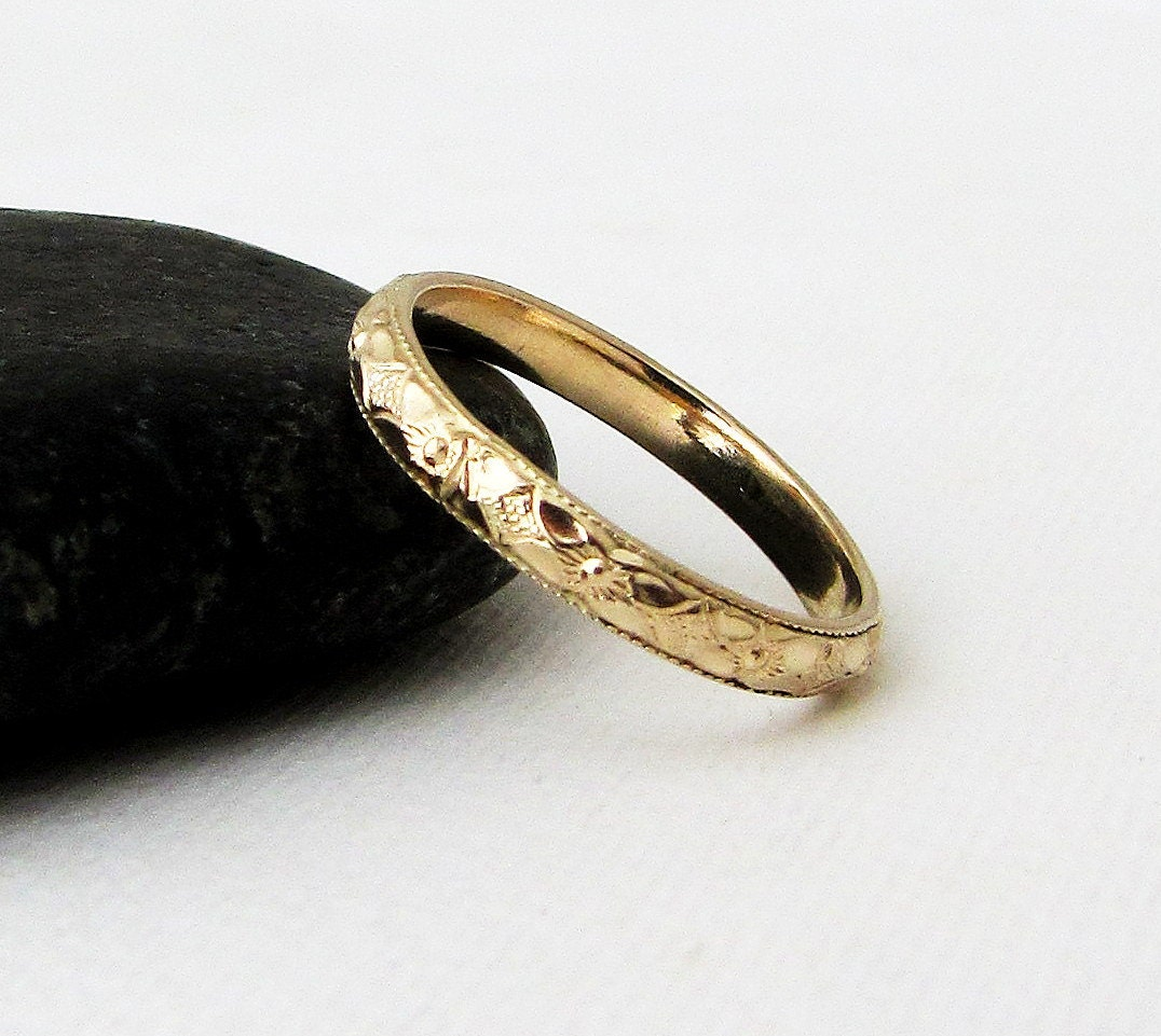Womens Gold Wedding Band Gold Floral Pattern Ring 14k Gold