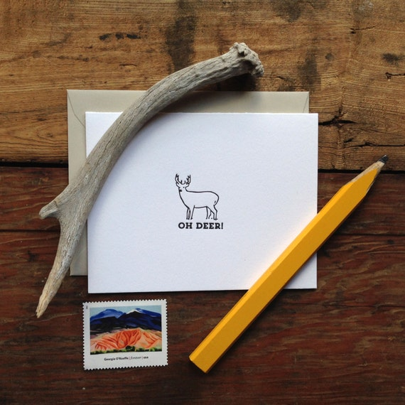 LIT-224 Oh deer literally letterpress greeting card