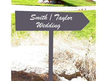 Wedding Directional arrow sign on 4ft Stake, last names wedding sign personalized