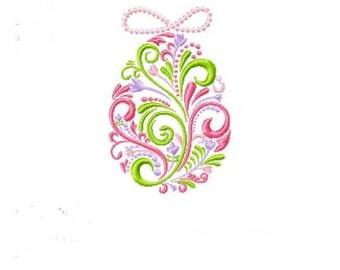 Swirl Easter Egg Machine Embroidery Design