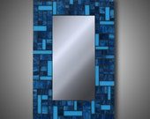 Stained Glass Mosaic Mirror - Turquoise Blue Mosaic Mirror 12 X 18 - Modern Home Decor - Accent Mirrors - MADE TO ORDER