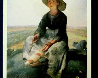 Young Shepherdess Portrait Vintage Postcard, Card Museum of Fine Arts