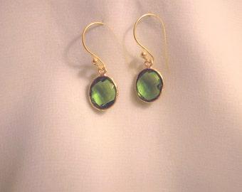 Green Quartz Peridot Color Oval Gemstone Earrings 22kt Gold Vermeil Bezel Setting and Hook Vibrant
