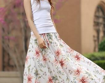 summer skirt, floral skirt, print skirt, flower skirt, prom skirt, linen skirt, elastic waist skirt, swing skirt, womens skirts, gift (950)