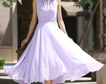 Maxi dress, purple dress, chiffon dress, prom dress, wedding dress, halter dress, convertible dress, evening dress, summer dress  (994)