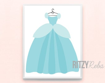 Disney Cinderella Inspired Princess Girl Nursery Art Print - Minimalist, Kids Room, Playroom, Baby, Childrens Room Decor