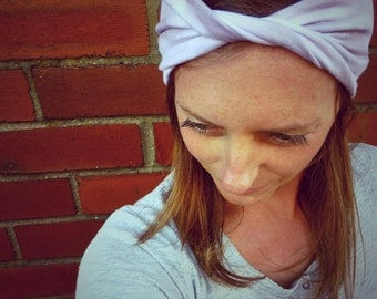 Lavender Storm Twisted Jersey Turban Headband - Womens Organic Accessory - Hand Dyed - Summer Beach Hair - Ready To Ship
