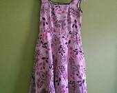 Vintage Pink Floral Mad Men-esque Dress small