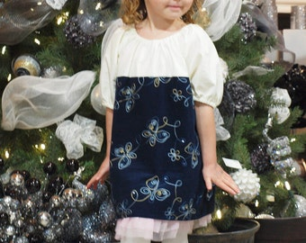 Cordouroy Butterfly Flower Dress Blue Gold CHOOSE size 6m - 5T