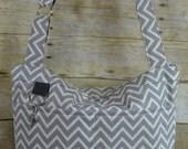 Grey Chevron  Camera Bag DSLR / Waterproof Canvas / Stripe / Darby Mack / zipper top, cross body, washable, removable insert