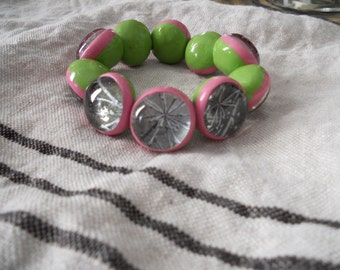 1980s pink and green floral bracelet