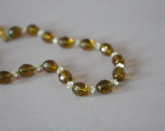 Vintage 1930s Faceted Glass Bead Neklace Amber Clear on Green with Extender