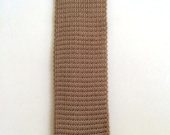 Vintage Neckties Men's 80's Cotton, Tan, Square, Mesh Tie by Rooster
