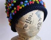 Hand knit beanie, unisex, wool, novelty, navy.