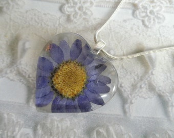 A True Blue Heart-Denim Blue Daisy Real Pressed Flower Glass Heart Pendant-Nature's Wearable Art-Gifts Under 25-Symbolizes Loyalty-Innocence