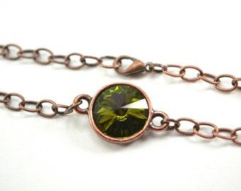 Olive Crystal Copper Chain Bracelet Antiqued Copper Green Crystal Bracelet Swarovski Crystal Olive Bracelet