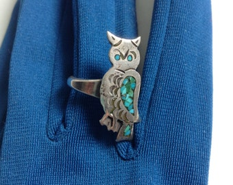 Turquoise & Silver Owl ring.  Vintage1970.  Native American.