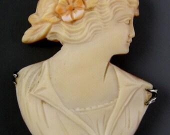 Carved Cameo in Sterling Silver Custom Frame