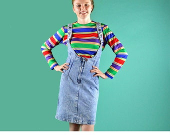 80s Vintage High Waist Denim Skirt Slim Fit PENCIL Skirt JUMPER Dress Suspender Skirt Womens Blue Jean Jumper Dress M