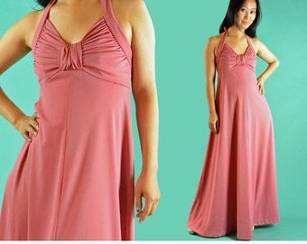 1970s Bohemian Long Maxi Dress Backless Halter Maxi Dress / Vintage 70s Coral Pink Empire Waist Plunge Neck Maxi Party Evening Dress XS / S