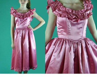 Vintage 70s Dress Pink Satin Party Dress Ruffle Bohemian Off Shoulder Dress Full Skirt Dress High Waist Full Skirt Sash Bow Prom Dress S /