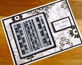 Handmade Cross Stitch Get Well Soon Card Assisi Style with Variegated Black and White Thread