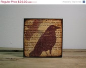 ON SALE Edgar Allan Poe Raven Wall Art Block--MatchBlox-1747 (The Raven) Halloween Wall Decor