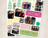 YOU PRINT Colorful Collage Christmas or Holiday Photo Card - Christmas Holiday Printable