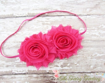 Hot Pink Flower Headband, Hot Pink Chiffon Rosettes Duo Stretchy Hot Pink Headband - Baby Child Toddler Girls Headband
