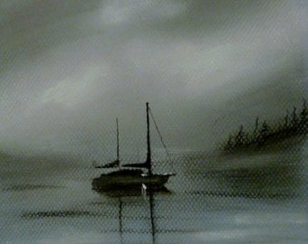 Sail Boat on a Foggy Morning - Original Charcoal Drawing by Jamies Art 8x10