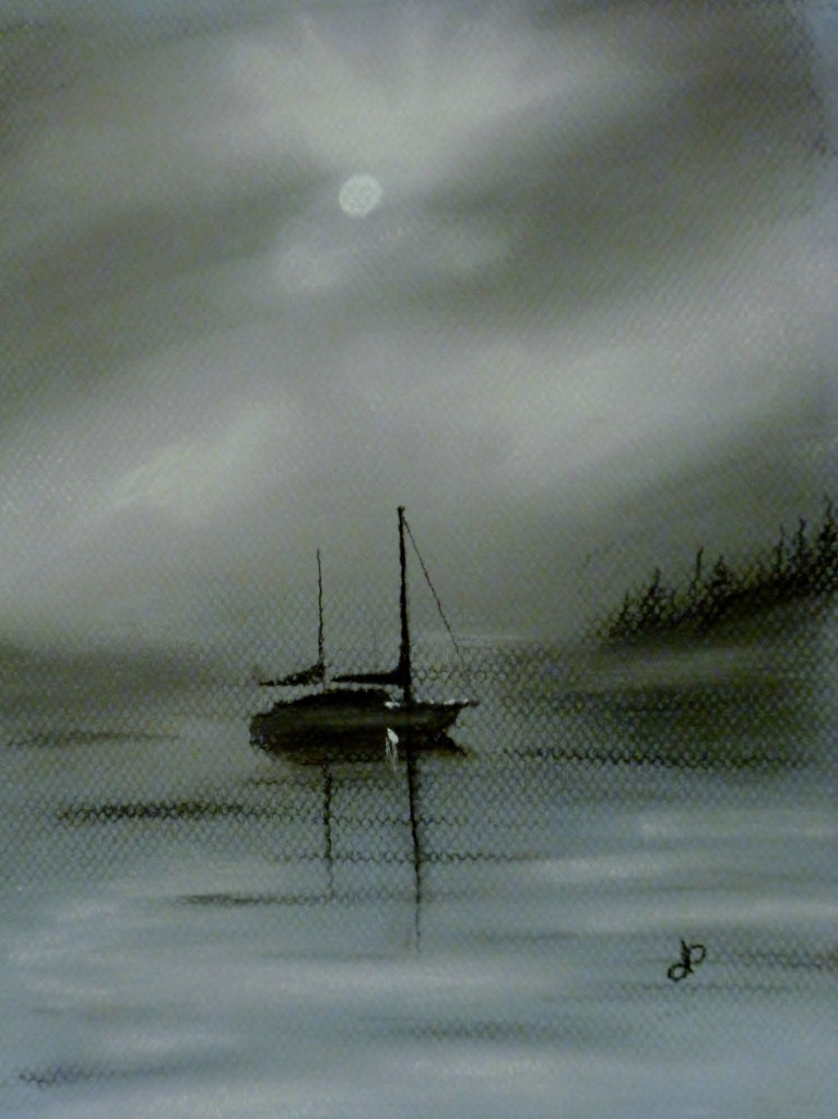 Sail Boat On A Foggy Morning Original Charcoal Drawing By