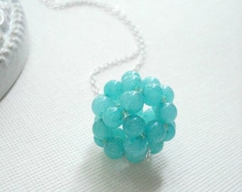 Green Jade Cluster Necklace, Beaded Ball, Sterling Silver, Modern Jewelry, Teal Green, Gift For Her Under 50