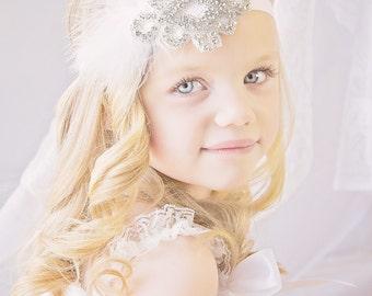 Rhinestone Applique Headband Vintage Style Flapper Girl 1920s Wedding Bride Flower Girl Headband