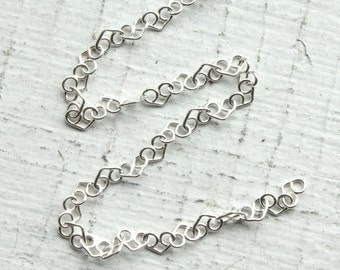 1 Meter Sterling Silver Heart Link Italian Chain // Bulk Unfinished Jewelry Crafting Chain // M/LV030
