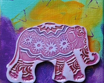 Pink Elephant, mini art, small canvas, mixed media, mini canvas, one of a kind, pink, purpl, yellow, turquoise