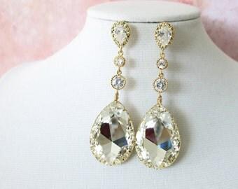 Julia - Wedding Jewelry, Bridal Earrings, Bridesmaid earrings, Cubic Zirconia Ear Posts with Swarovski Crystal, brides wedding bridal