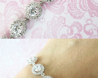 Heather - Sparkling Cubic Zirconia Bracelet, gifts for her, sparkly bracelet, silver Bridesmaid bracelet, wedding jewelry, crystal