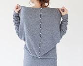 Designer dress | Gray sweater dress | Wool sweater dress | Button back sweater dress | LeMuse designer sweater dress