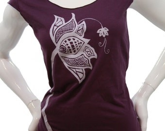 Lotus Flower| Soft Jersey top| Made in USA t shirt| lightweight Tshirt Blouse| Art by MATLEY| Gift for her| Yoga| Zen.