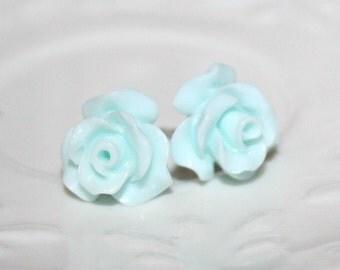 Blue Rose Earrings, Flower Stud Earrings, Baby Blue Rose Ear studs, powder Pastel pale Blue Flower Summer Blossom Post Earrings, Gift to Her