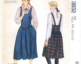 Jumper Sewing Pattern Misses' Size 6, 8, 10, 12 McCall's 3832, Uncut, 1980s Vintage Preppy, Dropped Waistline, Gathered Skirt