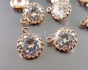 2 rose gold round 12mm clear cz cubic zirconia charms, bridal / wedding jewelry, findings 1823RG-CL-12