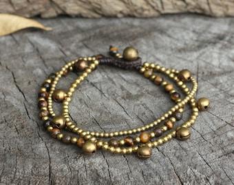 Tiger Eye Brass Bell Chain Bracelet